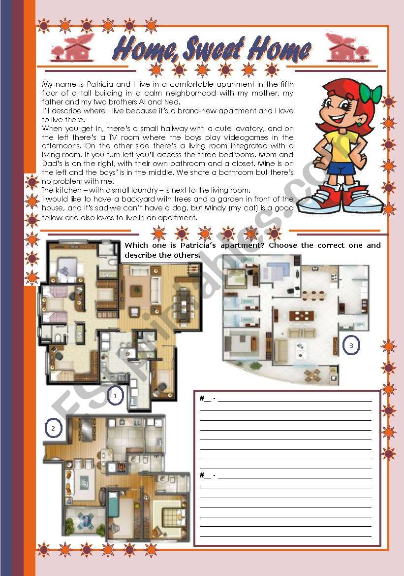 Home, Sweet Home – comprehension, rooms of a house and prepositions [4 tasks + tasks suggested] ((2 pages)) ***editable